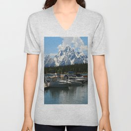 Pleasure Crafts on Jackson Lake Unisex V-Neck
