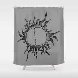 Liquid Sun on Lite Grey Shower Curtain