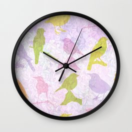 Pastel Birds Wall Clock