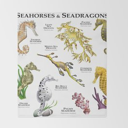 Seahorses and Seadragons Throw Blanket
