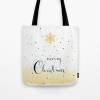 merry christmas Tote Bags featuring Merry Christmas by Earthlightened