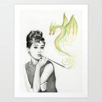 hepburn Art Prints featuring Audrey Hepburn  by Olechka