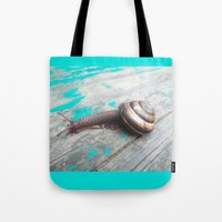 snail Tote Bags featuring Snail by Nita Bond