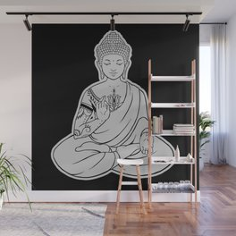 Sitting Buddha is blessing on blissful meditation Wall Mural