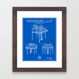 Piano Patent - Blueprint Framed Art Print