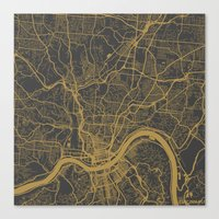cincinnati Canvas Prints featuring Cincinnati map by Map Map Maps