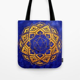 """Cosahedron, sacred geometry""  WATERCOLOR MANDALA (HAND PAINTED) BY ILSE QUEZADA Tote Bag"