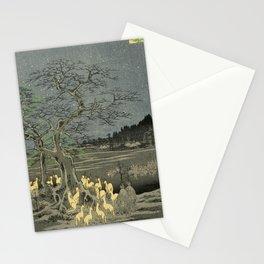 Utagawa Hiroshige - New Year's Eve foxfires at the changing tree, 1857 - Japanese Woodblock Print Stationery Cards
