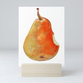 Bitten, half-eaten pear drawing by pastel on white background Mini Art Print