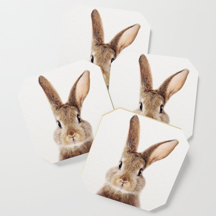 Baby Rabbit, Baby Animals Art Print By Synplus Coaster