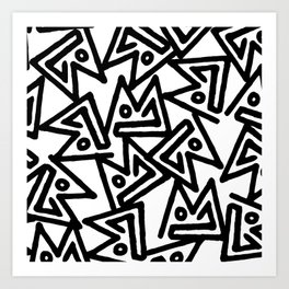 Abstract hand painted black white geometrical pattern Art Print