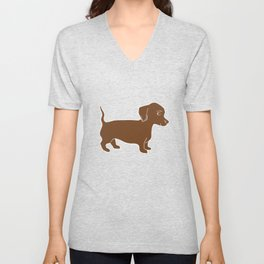 Brown Dachshund Printmaking Art Unisex V-Neck