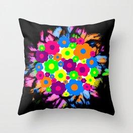 Retro Flower Puff Balls Throw Pillow