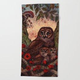 Tawny Owlets Beach Towel