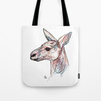 kangaroo Tote Bags featuring Kangaroo by Ursula Rodgers