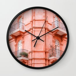 Shades of Coral | Perugia Italy fine art print | Pastel colored Wall Clock