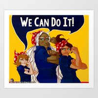 dangan ronpa Art Prints featuring We Can Do It! - Dangan Ronpa by bratwurstTrousers