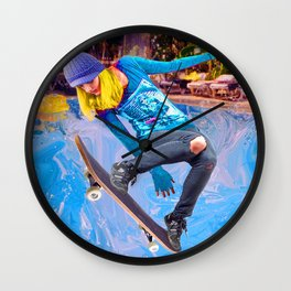 Skateboarding on Water Wall Clock