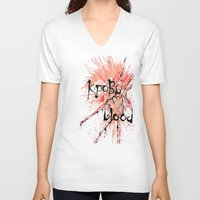 blood V-neck T-shirts featuring Blood by OnaElena
