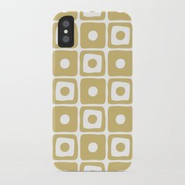 Mid Century Square Dot Pattern Gold iPhone Case