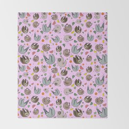 Cute Sloths Throw Blanket