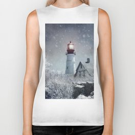 New England Winter Lighthouse Biker Tank