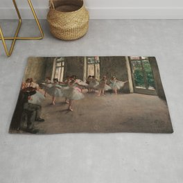 Classical Masterpiece 'The Ballet Rehearsal' by Edgar Degas Rug