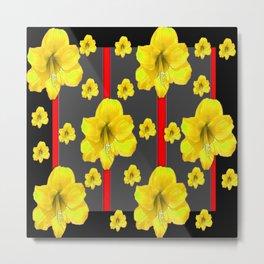 YELLOW AMARYLLIS BLACK-RED DECO ART Metal Print