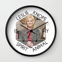 leslie knope Wall Clocks featuring Leslie Knope is My Spirit Animal by Dwell Beautiful