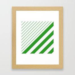 Green And White Stripes Pattern Framed Art Print