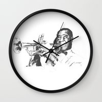 louis armstrong Wall Clocks featuring Louis Armstrong, Satchmo or Pops by 1and9