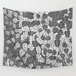 Japanese Leaf Print, Light and Dark Gray / Grey Wall Tapestry