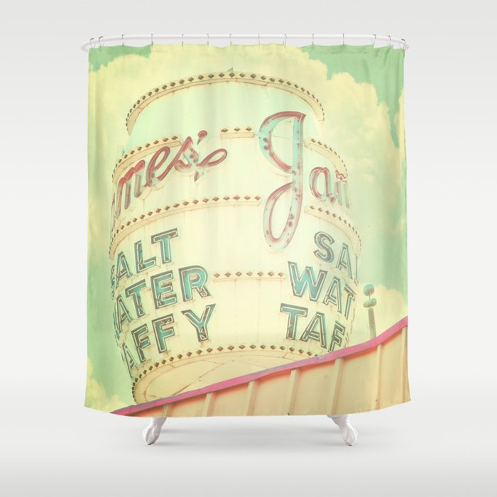 Vintage Sign Print Retro Nursery Decor Shabby Chic Carnival Circus Shower Curtain
