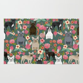 French Bulldog florals mixed coat colors dog breed pet must have gifts frenchies Rug