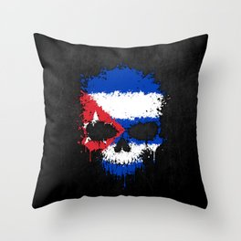 Flag of Cuba on a Chaotic Splatter Skull Throw Pillow