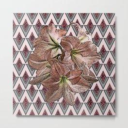 BROWN-GREY PATTERNED AMARYLLIS DRAWING ART Metal Print