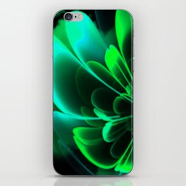 Stylized Half Flower Green iPhone Skin