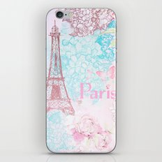I love Paris- Vintage Shabby Chic in pink - Eiffeltower France Flowers Floral on #Society6 iPhone & iPod Skin