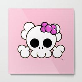 Super Cute Rebel Kawaii Skull Metal Print