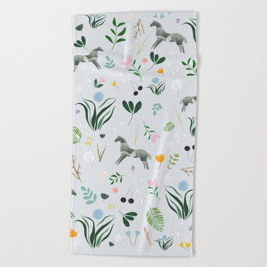 Green Horses Beach Towel
