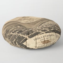Vintage Bird's Eye Map Illustration - Yreka and Mount Shasta, Siskiyou County, California (1884) Floor Pillow