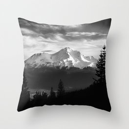 Mount Shasta Morning in Black and White Throw Pillow