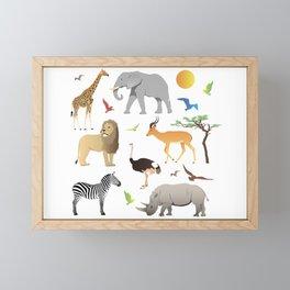 Safari Savanna Multiple Animals Framed Mini Art Print