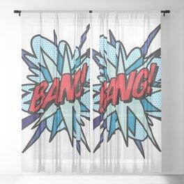 BANG Comic Book Flash Pop Art Cool Typography Sheer Curtain