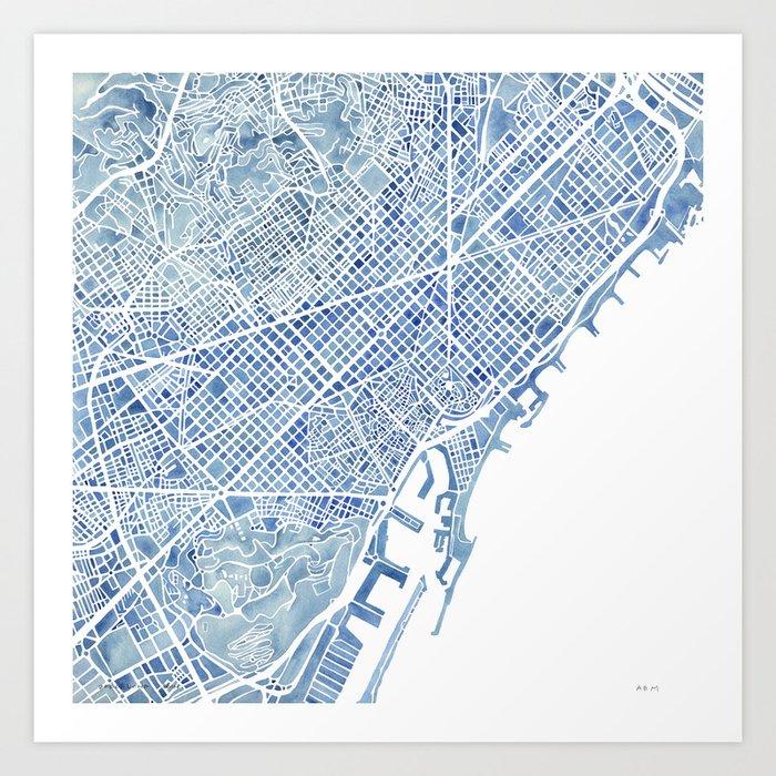 Barcelona blueprint watercolor city map art print by aemcdraw society6 barcelona blueprint watercolor city map art print malvernweather Choice Image