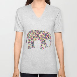 Elephant Collage in Gray Hot Pink Teal and Yellow Unisex V-Neck