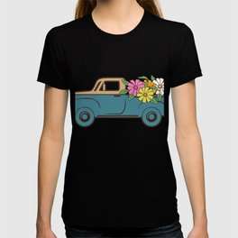 Sufer Pickup Truck With Flowers Retro Classic Car Gifts For Truck Drivers T-shirt