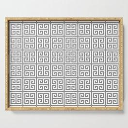 Greek Key pattern - Greek fret design , grey, white Serving Tray