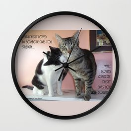Love Gives Us Strength: Two Cats Wall Clock