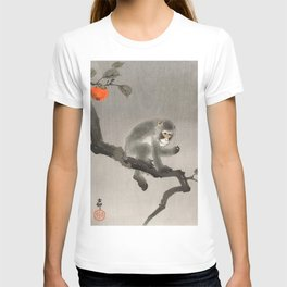 Monkey sitting on persimmon tree - Vintage Japanese Woodblock Print T-shirt